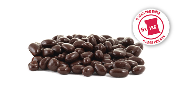 Semi sweet dark chocolate (sugar, chocolate liquor, cocoa butter, alkalized chocolate liquor, soya lecithine (emulsifier), vanillia, salt, artificial flavour), raisins, confectioner's glaze, arabic gum.
