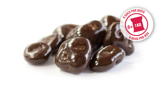 Semi-sweet dark chocolate (sugar, chocolate liquor, cocoa butter, chocolate liquor processed with  alkali, soya lecithin (emulsifier), vanilla,  salt, artificial flavour), dried cranberries, confectioner's glaze, arabic gum.