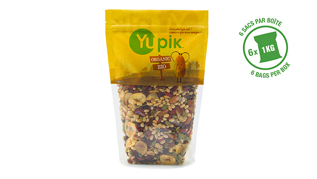 Organic sultana raisins, organic pumpkin seeds, organic soybeans, organic bananas, organic almonds, organic goji berries, organic sunflower oil, organic soybean oil, organic coconut oil, organic sugar.