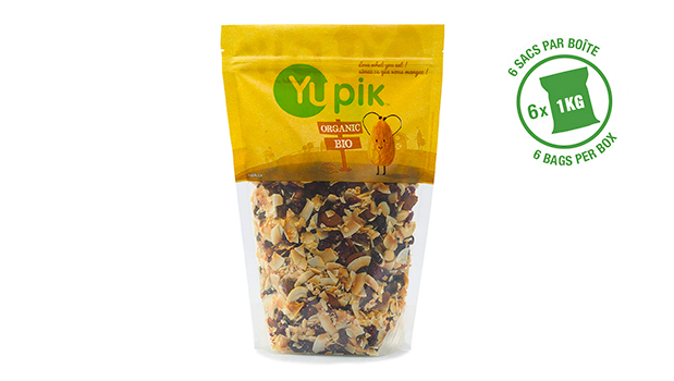 Organic raisins, organic cashews, organic coconut, organic cranberries, organic almonds, organic cane sugar, organic sunflower oil.