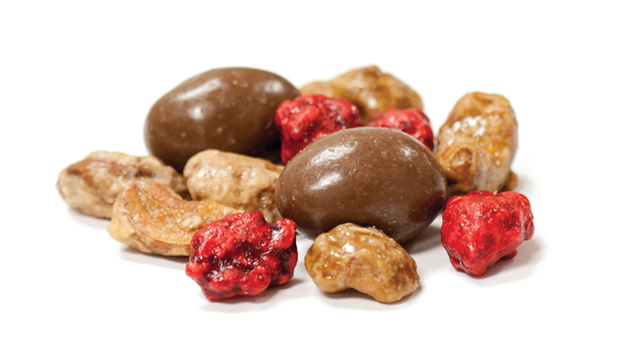 Cashew, fine sugar, glazing sugar, glucose, hydrogenated vegetable oil (canola), salt, arabic gum, soy lecithin (emulsifier), artificial butter flavor, caramel color; Peanuts, sugar, arabic gum, color, vegetable oil; Chocolate coating (contains: sugar, chocolate liquor, cocoa butter, soya lecithin), whole milk powder- emulsifier, vanillin (artificial aroma), almonds, confectioner's glaze, salt, arabic gum; Almonds, fine sugar, glazing sugar, glucose, hydrogenated vegetable oil (canola), salt, arabic gum, lecithin (emulsifier), artificial butter flavor, caramel color; Pecan nuts, fine sugar, glazing sugar, glucose, hydrogenated vegetable oil (canola), salt, arabic gum, lecithin (emulsifier), artificial butter flavor, caramel color.