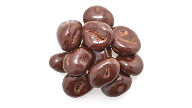 Semi-sweet dark chocolate (sugar, chocolate liquor, cocoa butter, chocolate liquor processed with  alkali, soy lecithin (emulsifier), vanilla,  salt, artificial flavour), dried cranberries (cranberries, cane sugar, sunflower oil), confectioner's glaze, arabic gum.