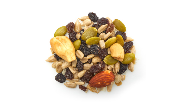 Currants raisins, sunflower seeds, cashews, almonds, pumpkin seeds, non-hydrogenated canola oil, sunflower oil.