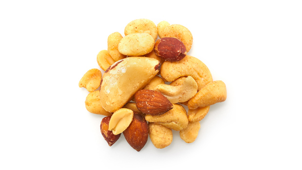 Roasted red skin peanuts, roasted blanched peanuts, roasted almonds, brazil nuts, cashews, filberts, non-hydrogenated canola oil, salt.