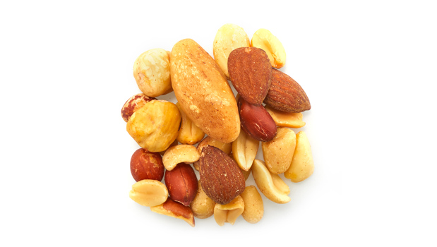 Roasted red skin peanuts, roasted blanched peanuts, roasted almonds, brazil nuts,  cashews, filberts, non-hydrogenated canola oil.