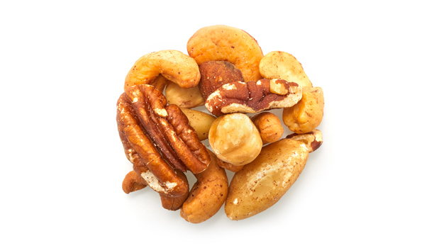 Brazil Nuts, Almonds, Cashews, Filberts, Pecans, Non-hydrogenated canola oil.