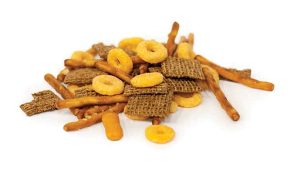 Pretzel sticks (enriched wheat flour, vegetable oil (soya and/or canola), yeast, malt flour, sodium hydrate), wheat squares (whole wheat,  sugar, , thiamine mononittrate vitamine b1) niacinamide, pirydoxine hydrochloride (b6), folic acid, calcium, pantothenate, iron), round cereal (wheat flour, oat flour, sugar, colour, cheese stick ( hydrogened canola oil, cheddars cheese (milk, bacterial cultures, rennet and/or pepsin and/or microbial enzimes, calcium chloride), sugar, natural flavour (cheddar cheese solids (milk ingredients, bactorial cultures, microbial enzymes),  lactic acid, disodium phosphate, citric acid, silicon dioxide), malt extract, autolyzed yeast, dried yeast, annatto, ammonium bicarbornate, sodium bicarbonate, monocalcium, phospate, monosodium glutamate, spice, protease sodium metabisulphite), spice, onion powder, garlic powder, hydrogenated soybean oil, disodium inosinate, disiodium guanylate, calcium silicate), partially hydrogenated vegetable oil ( cottonseeds, soybean and/or sunflower); salt, natural flavour; corn flour, corn syrup.