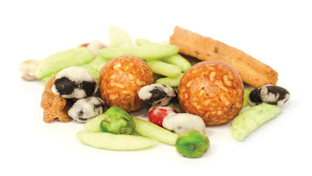 Soybeans, black soybeans, glutinous rice, green peas, peanuts, rice flour, sugar, wheat flour, wheat powder, modified starch, sesame seed, seaweed, maltodextrin, salt, palm oil, sunflower oil, wasabi, tapioca starch, paprika extract, chili & lime flavor (sugar, salt, paprika, chili,vegetable powder, hydrolyzed vegetable protein (from soy), rice flour,natural flavor food acid (262,330), yeast extract, free flow agent (551), flavor enhancer (635)), taco flavour(sugar, salt, whey solids, onion powder, tomato powder, garlic powder, yeast extract, food acid(330), vegetable extract, potatoes fibre, natural flavouring, maltodextrin(from wheat), dextrin), malt extract (from barley), garlic, chives, caramel, colors FD&C yellow#5, FD&C blue#1, FD&C red#40.