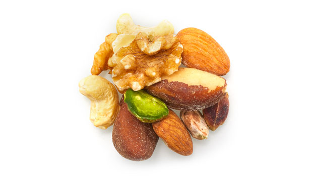 Almonds, walnuts, brasil nuts, cashews, pistachios.