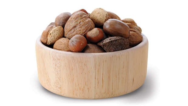 Almonds in shell, walnuts in shell, brasil nuts in shell, filbert in shell.