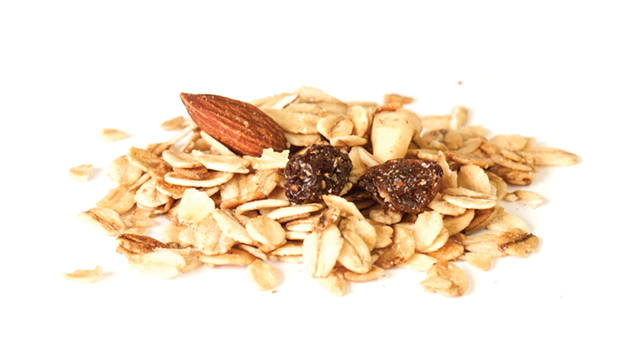 Oats, honey, sunflower and/or canola oil, natural flavour, raisins (vegetable oil), almonds, sunflower seeds.