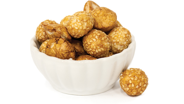Peanuts, Corn Starch, Wheat Powder, Sugar, White Sesame, soy sauce (soybean, wheat, salt,water), Tapioca Starch, Caramel color.