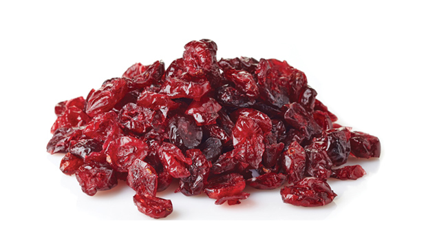Cranberries, cane sugar, sunflower oil (lessthan 1%), natural strawberry flavour.