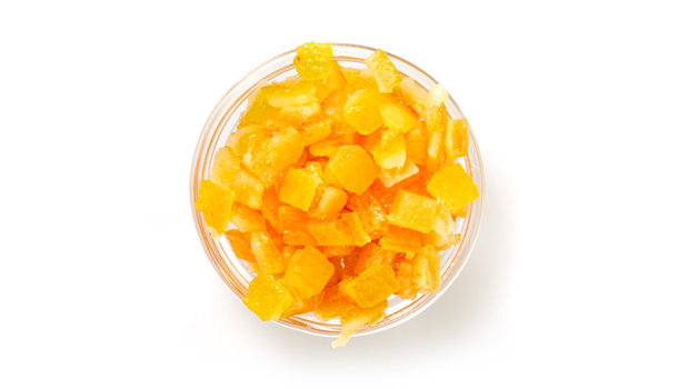 Orange peel cubes, glucose-fructose syrup, sugar, citric acid, sodium benzoate, sulphur dioxide (traces).