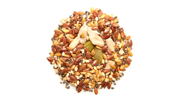Organic brown flax seeds, organic golden flax seeds, organic sunflower seeds, organic natural sesame seeds, organic black chia seeds, organic pumpkin seeds.