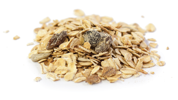 Organic oats, organic honey, organic thompson raisins (organic vegetable oil),  organic sunflower seeds, organic apples.