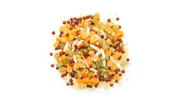 Organic red lentils, organic red quinoa, organic amaranth, organic rice, organic short-grain rice, bamboo concentrate.