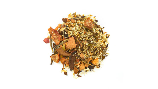 Organic apple pieces, organic orange peels, organic white tea leaves, organic lemongrass herb, organic licorice root, natural honeydew flavour, organic rose petals, organic flavours.