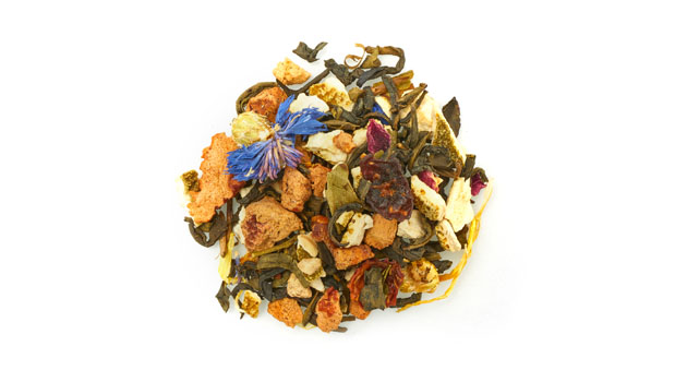 Organic jasmine green tea leaves, organic orange peels, organic apple pieces, organic white tea leaves, natural flavours, organic rosehips berries, organic flavour, organic cornflower petals, organic rose petals, organic marigold petals, organic blueberries.
