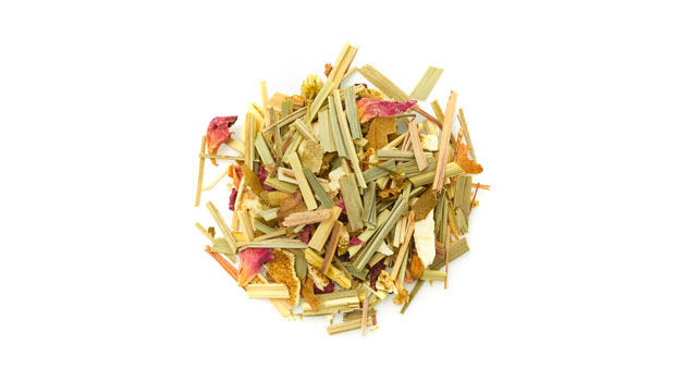 Organic lemongrass herb, organic orange peels, organic chamomile flowers, organic hibiscus flowers, organic lemon myrtle leaves, organic licorice root, organic flavours, organic lemon peels, organic rose petals, organic spearmint leaves, natural flavours.