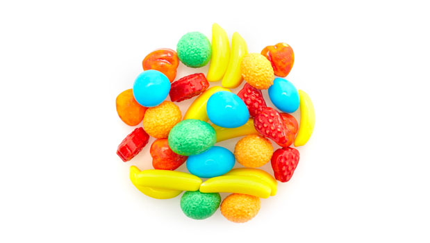 Dextrose, glucose (corn syrup), citric acid, calcium stearate, tapioca dextrin, titanium dioxide, confectioner's glaze, carnauba wax, artificial flavours and colors.
