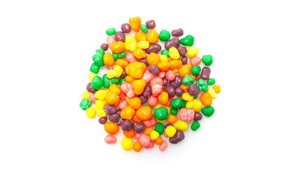 Dextrose, sugar, malic acid, and less than 2% of corn syrop, natural flavors, carnauba wax, color added: carmine color, Blue 1, Blue 2 lake, Blue 2, BLue 2 lake, Red 40, Red 40 lake, Yellow 5, Yellow 5 lake, Yellow 6, Yellow 6 lake.
